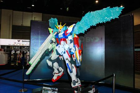 plastic soldier: Bangkok - May 2: A Gundam model in Thailand Comic Con 2015 on May 2, 2015 at Siam Paragon, Bangkok, Thailand.