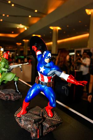 Bangkok - May 2: A Captain America model in Thailand Comic Con 2015 on May 2, 2015 at Siam Paragon, Bangkok, Thailand. Editorial
