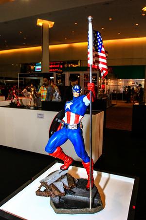 paragon: Bangkok - May 2: A Captain America model in Thailand Comic Con 2015 on May 2, 2015 at Siam Paragon, Bangkok, Thailand. Editorial