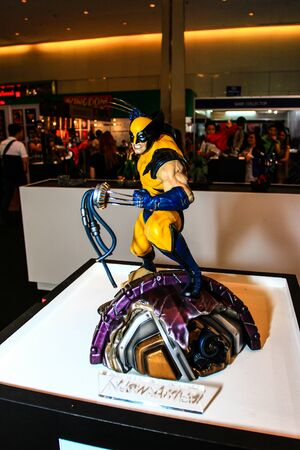 paragon: Bangkok - May 2: A Wolverine model in Thailand Comic Con 2015 on May 2, 2015 at Siam Paragon, Bangkok, Thailand. Editorial