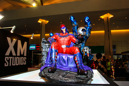 Bangkok - May 2: A Magneto model in Thailand Comic Con 2015 on May 2, 2015 at Siam Paragon, Bangkok, Thailand.