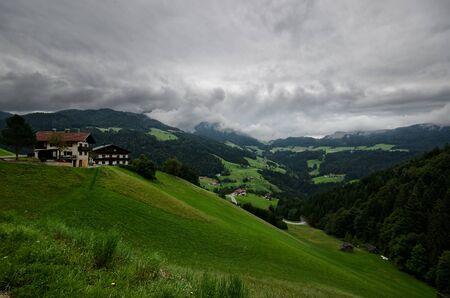 barnyard: Heavy Weather over Brandenberg, Tyrol Stock Photo