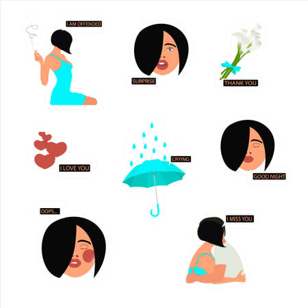 Set of stickers of beautiful girl with different emotions. Set of vector stickers for networks, social media chat. Cute and funny girls characters with phrases.