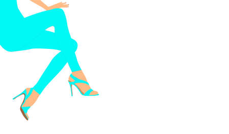 Long female legs in blue leggings and sandals with heels for advertising decoration card design.