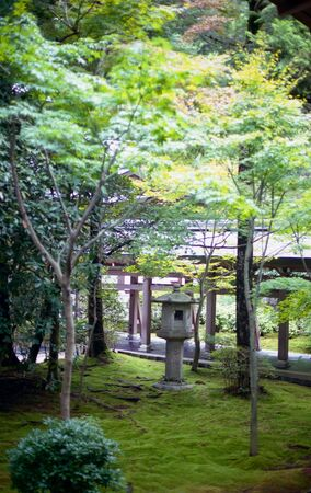 Japanese Garden with stone lantern and moss covered ground at Ryoanji Temple in Kyoto, Japan Stock Photo