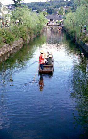 Boat ride on canal in Bikan historic area in Kurashiki, Japan Stock Photo