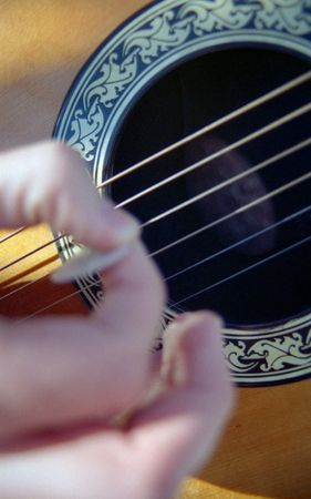 Close up of hand playing an acoustic guitar