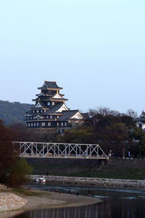 Okayama Castle along the Asahi River in Japan