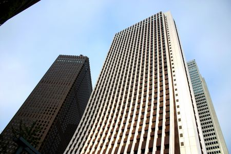 Shinjuku Ward skyscrapers and blue sky in Tokyo, Japan