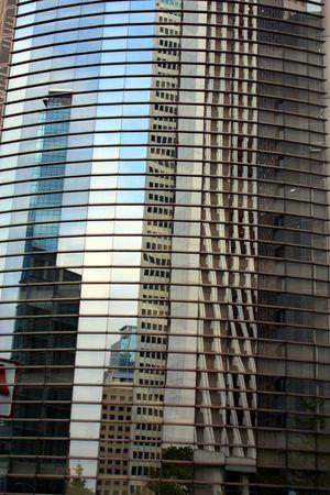 Reflection of Shinjuku Ward Skyscrapers in Tokyo, Japan