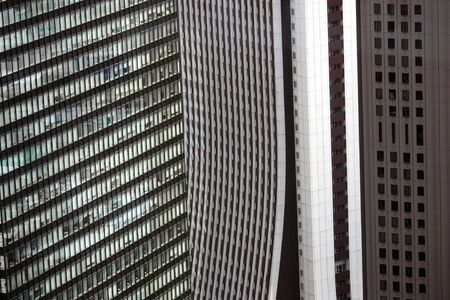 Surrounded by buildings in Shinjuku ward of Tokyo, Japan. Stock Photo