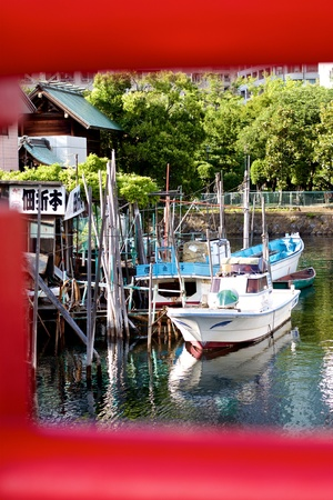 Boats docked in Tsukushima, Tokyo, Japan