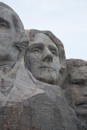Mount Rushmore National Monument in the Black Hills of South Dakota featuring Thomas Jefferson between Washington and Roosevelt
