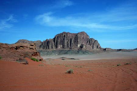 Desert landscape with mountains in Jordan