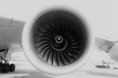 Close up aircraft engine isolated at the airport Standard-Bild