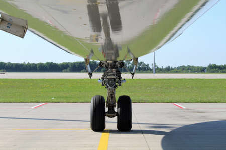 Passenger airplane rear view at the airport