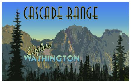 ビンテージ観光ポスター効果とカスケード山脈の図