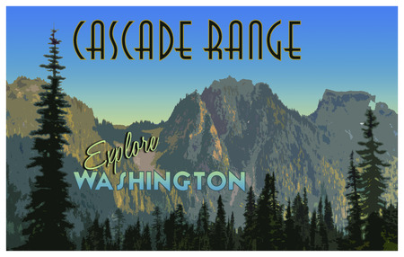 Cascade Range illustration with vintage tourism poster effect Imagens - 42562961