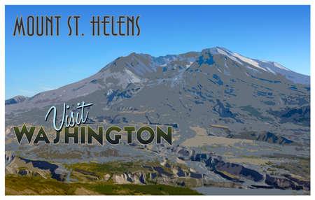 Mount St. Helens, WA vintage tourism style illustration. Stock Photo