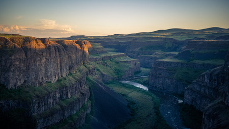 The Palouse River, snaking through canyons downstream from the Palouse Falls in the evening