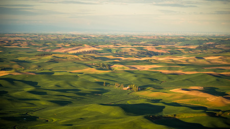 Farms dot The Palouse from Steptoe Butte at sunrise