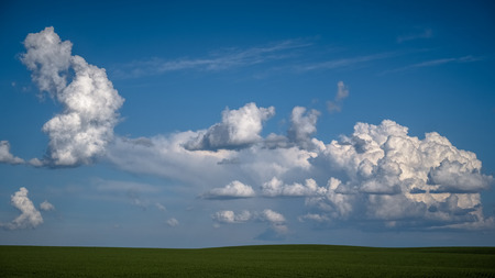Large cumulus clouds over The Palouse 写真素材