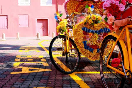 trishaw: trishaw part at roadside Malacca malaysia