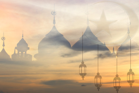 Background blur landmark mosque prayer for peace in the Middle East war of Muslim liberation Stock Photo