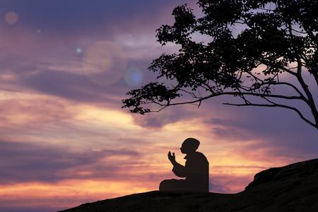 Silhouettes Muslim prayer,the light of faith, hope, faith, supplication,Muslim boy praying faith in Allah God of Islam supremely