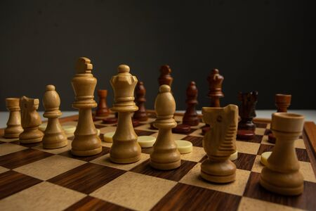 Chess is in the hands of children,Abstract  Sports games are the strategy of victory for the leader,Concept: Planning a business teamwork battle strategy for success