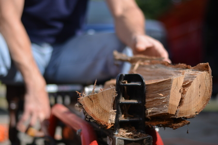 Man using log splitter to cut tree logs into firewood