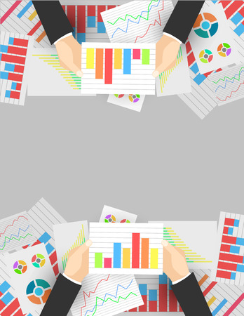 work ethic responsibilities: Business analytics and financial audit. flat illustration