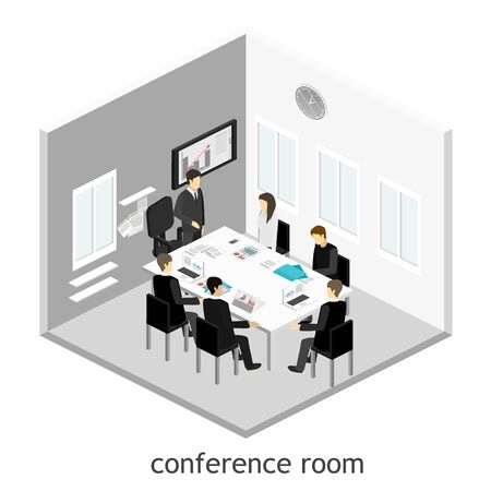 business meeting: Business meeting in an office Business presentation meeting in an office around a table. Illustration