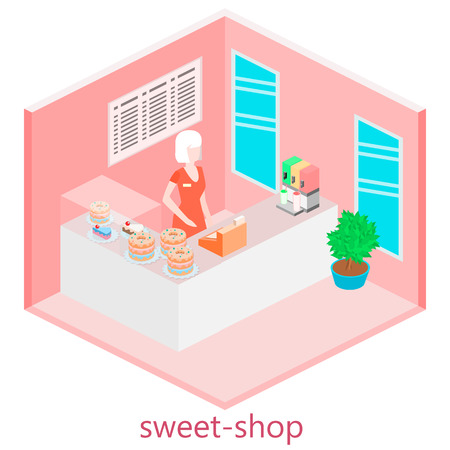 sweetshop: Isometric interior of sweet-shop. People sit at the table and eating.