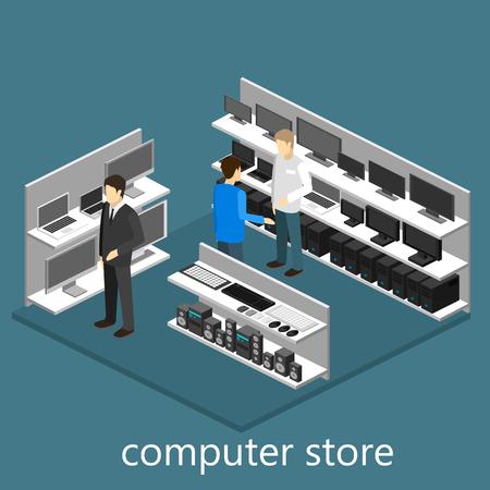 mall interior: Isometric interior of Computer store