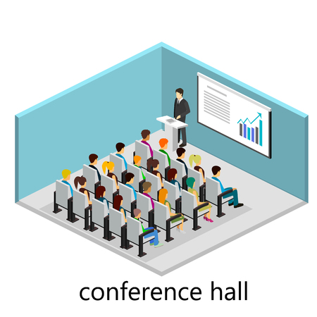 boardroom meeting: isometric interior of conference hall