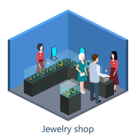 Isometric interior of jewelry shop