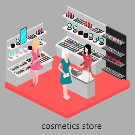 inside house: Isometric interior of cosmetics shop