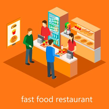 isometric fast food restaurant Vektoros illusztráció