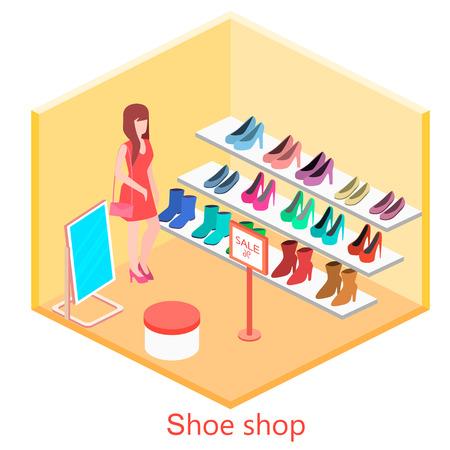 clothes rack: Isometric interior shoe shop