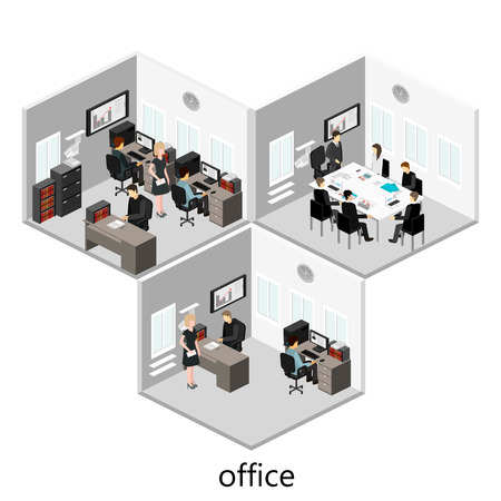 Flat 3d isometric abstract office floor interior departments concept