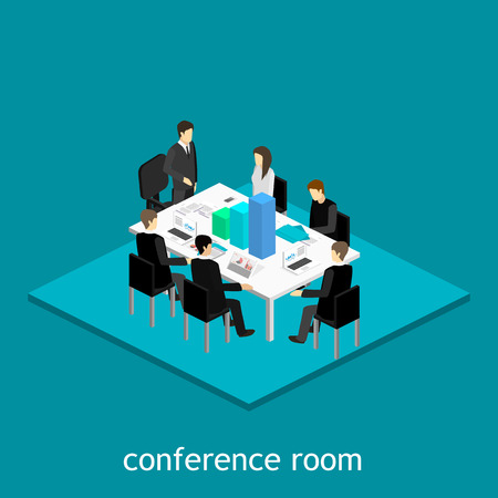 ceo: Business meeting in an office Business presentation meeting in an office around a table. Illustration