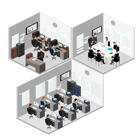hall monitors: Flat 3d isometric abstract office floor interior departments concept