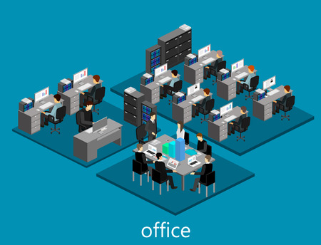 detective agency: Flat 3d isometric abstract office floor interior departments concept