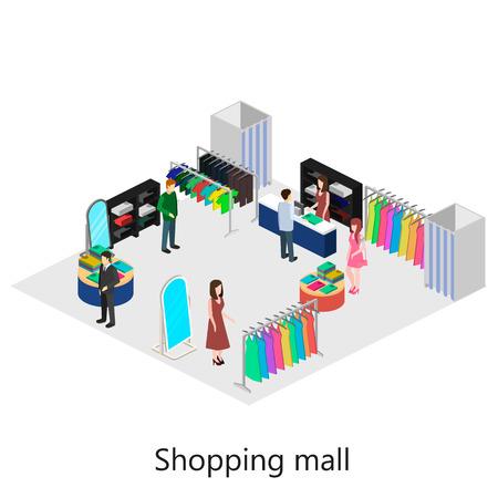 Isometric interior of shoping mall 일러스트