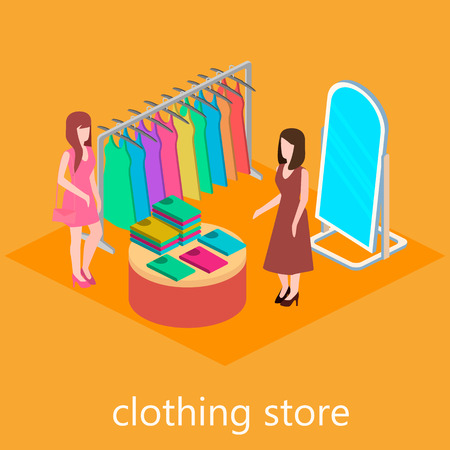 clothes shop: Isometric interior of clothes shop