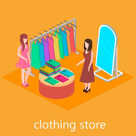 shopping center interior: Isometric interior of clothes shop