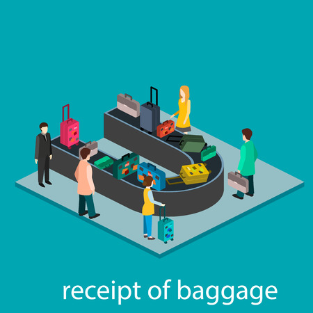 receipt: Isometric gesign of receipt of baggage.  Baggage carousel