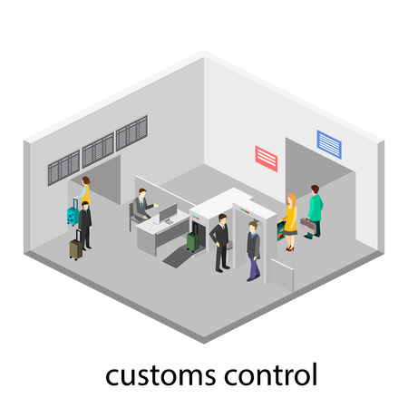 detectors: Security gates with metal detectors in airport Illustration