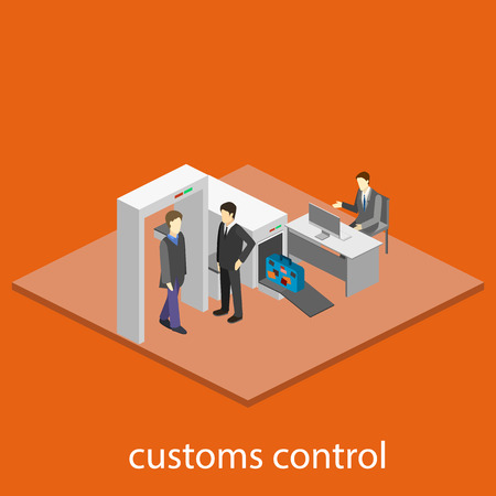 Security gates with metal detectors in airport Illustration